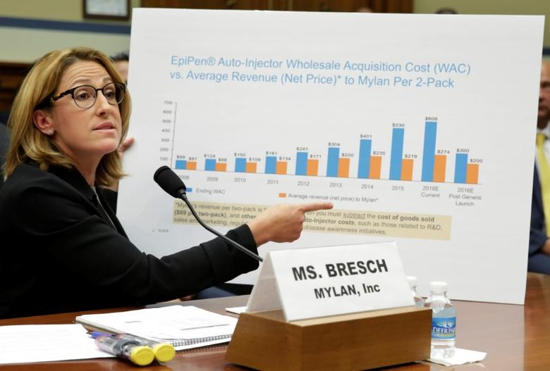 Mylan NL CEO Heather Bresch testifies before a House Oversight and Government Reform Committee hearing on the Rising Price of EpiPens at the Capitol in Washington, U.S., September 21, 2016. REUTERS/Yuri Gripas