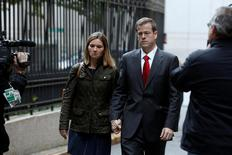 Andrew Caspersen and his wife Christina Caspersen depart following his sentencing at the U.S. Federal Court in New York City, U.S., November 4, 2016.  REUTERS/Brendan McDermid