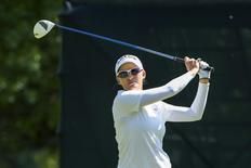 Sarah Jane Smith of Australia tees off on the eighth hole during round three of the LPGA Golf Championship in Pittsford, New York June 9, 2013.    REUTERS/Adam Fenster