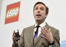 John Goodwin, CFO of Danish toy company Lego Group delivers his speech during the annual news conference in Billund, Denmark March 1, 2016. REUTERS/Fabian Bimmer
