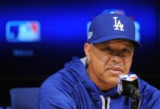 October 18, 2016; Los Angeles, CA, USA; Los Angeles Dodgers manager Dave Roberts (30) speaks to media before game three against the Chicago Cubs in the 2016 NLCS playoff baseball series at Dodger Stadium. Mandatory Credit: Gary A. Vasquez-USA TODAY Sports