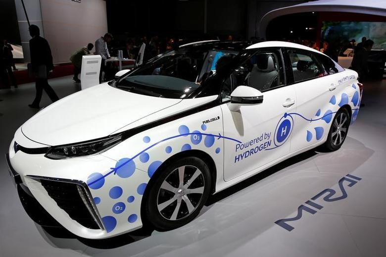 The Toyota Mirai, an hydrogen fuel cell vehicle, is displayed on media day at the Paris auto show, in Paris, France, September 29, 2016. REUTERS/Benoit Tessier