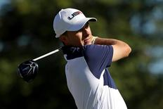 Oct 2, 2016; Chaska, MN, USA;  Jordan Spieth of the United States plays his shot from the third tee during the single matches in 41st Ryder Cup at Hazeltine National Golf Club. Mandatory Credit: Rob Schumacher-USA TODAY Sports