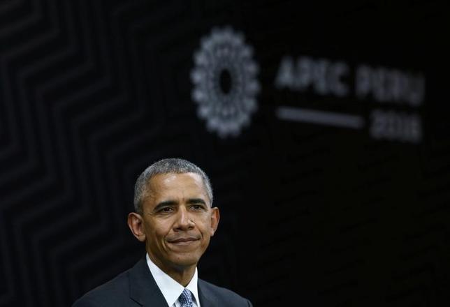 11月20日、オバマ米大統領はアジア太平洋経済協力会議(APEC)首脳会議終了後に記者会見し、環太平洋連携協定(TPP)を推し進めなければアジアにおける米国の地位が低下すると警告した(2016年 ロイター/Mariana Bazo)
