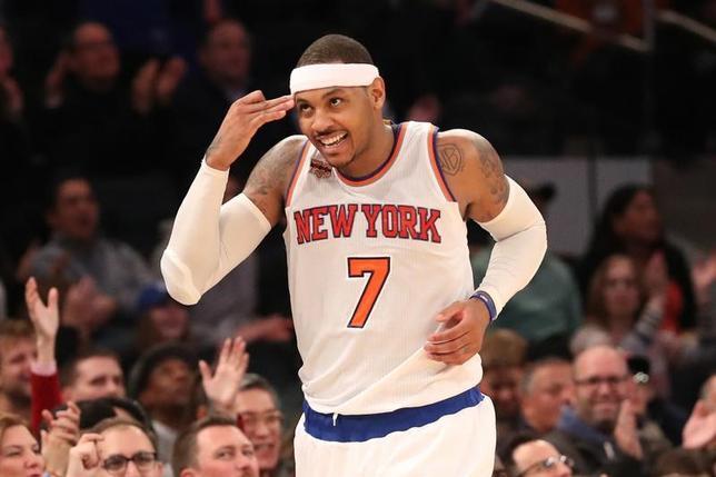 11月20日、米プロバスケットボール協会(NBA)は各地で試合を行い、ニックスはカーメロ・アンソニー(写真)が31ゴールの活躍を見せて104─94でホークスに勝利した(2016年 ロイター/Anthony Gruppuso-USA TODAYSports)