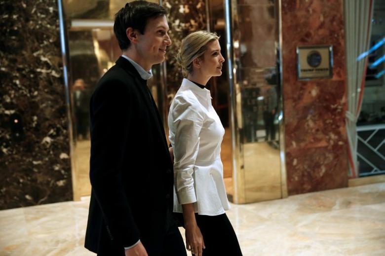 Ivanka Trump, daughter of U.S. President Elect Donald Trump walks through the lobby with her husband Jared Kushner at Trump Tower in New York, U.S. November 18, 2016.   REUTERS/Mike Segar