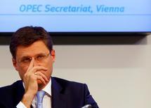 Министр энергетики России Александр Новак на пресс-конференции в Вене 24 октября 2016 года. Россия в ожидании решения ОПЕК о заморозке нефтедобычи ищет механизмы регулирования производства сырья на собственном рынке, но чёткого представление о том, как это будет сделано, пока нет, сказали Рейтер три источника в нефтяной отрасли. REUTERS/Leonhard Foeger