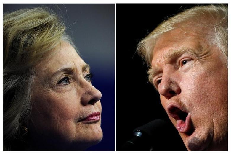 """图为希拉里和特朗普。美国威斯康辛州对总统选举展开验票,民主党候选人希拉里克林顿阵营将参与,赢得大选的共和党人特朗普周六称验票是""""荒谬的""""。  REUTERS/Charles Mostoller/Jonathan Ernst"""