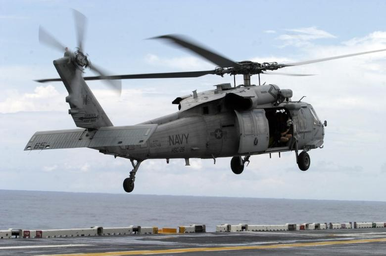 A U.S. Navy MH-60 helicopter prepares to land in a file photo. REUTERS/Alberto Lowe