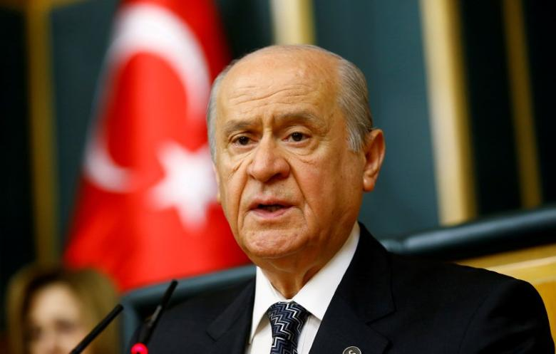 Nationalist Movement Party (MHP) leader Devlet Bahceli addresses his party MPs during a meeting at the Turkish parliament in Ankara, Turkey, June 14, 2016. REUTERS/Umit Bektas/File Photo