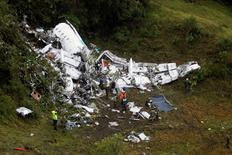 Wreckage from a plane that crashed into Colombian jungle with Brazilian soccer team Chapecoense, is seen near Medellin, Colombia, November 29, 2016. REUTERS/Fredy Builes