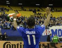 Nov 22, 2016; Montreal, Quebec, CAN; Montreal Impact forward Didier Drogba (11) interacts with fans after the first leg game against the Toronto FC of the MLS Eastern Conference Championship at Olympic Stadium. Mandatory Credit: Eric Bolte-USA TODAY Sports