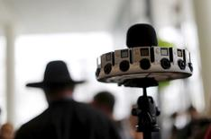 """A GoPro device featuring 16 cameras, to be used with Google's """"Jump,"""" to provide viewers with 360-degree video, is shown during the Google I/O developers conference in San Francisco, California May 28, 2015.  REUTERS/Robert Galbraith"""