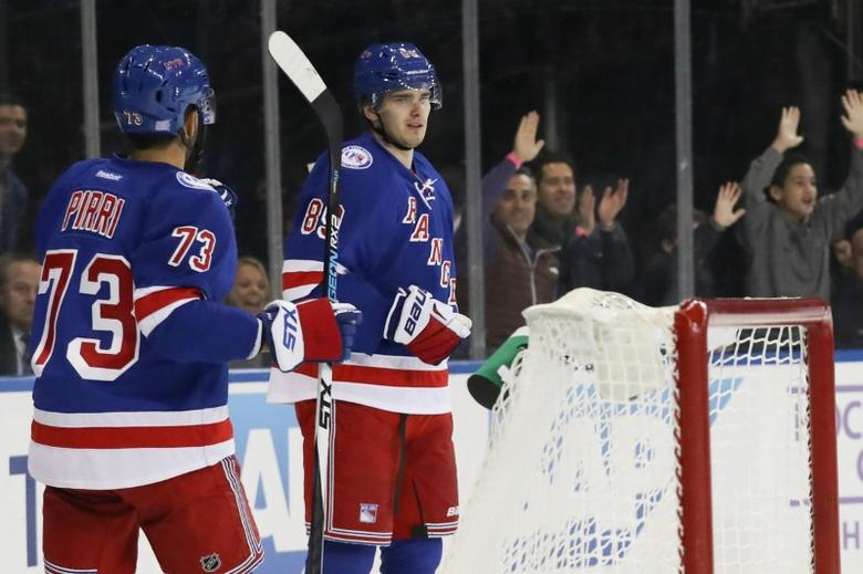Nov 8, 2016; New York, NY, USA;  New York Rangers right wing Pavel Buchnevich (89) celebrates after scoring a goal during the second period against the Vancouver Canucks at Madison Square Garden. Mandatory Credit: Anthony Gruppuso-USA TODAY Sports