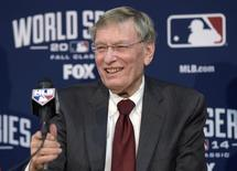 File Photo - Oct 22, 2014; Kansas City, MO, USA; MLB commissioner Bud Selig speaks at a press conference before game two of the 2014 World Series between the Kansas City Royals and the San Francisco Giants at Kauffman Stadium. Mandatory Credit: Christopher Hanewinckel-USA TODAY Sports