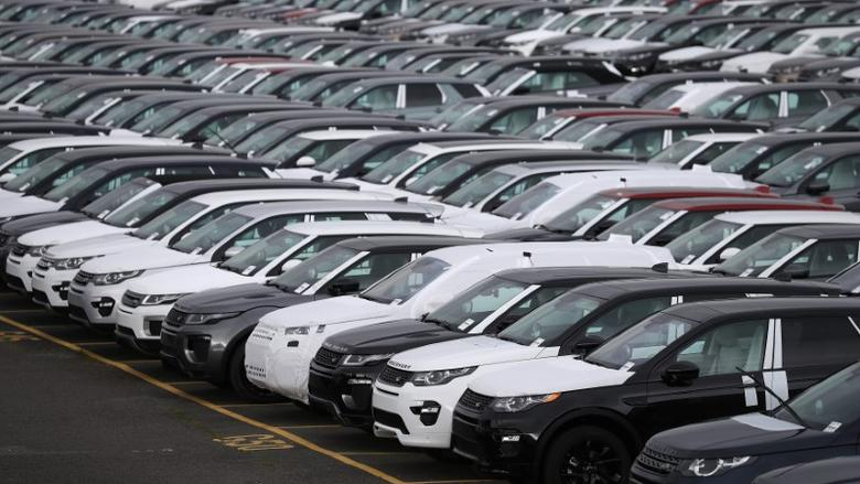 New Land Rover cars are seen in a parking lot at the Jaguar Land Rover plant at Halewood in Liverpool, northern England, September 12 , 2016. REUTERS/Phil Noble