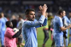 Nov 6, 2016; New York, NY, USA; New York City FC forward David Villa (7) acknowledges the crowd following a loss to Toronto FC at Yankee Stadium. Toronto FC won 5-0. Mandatory Credit: Derik Hamilton-USA TODAY Sports