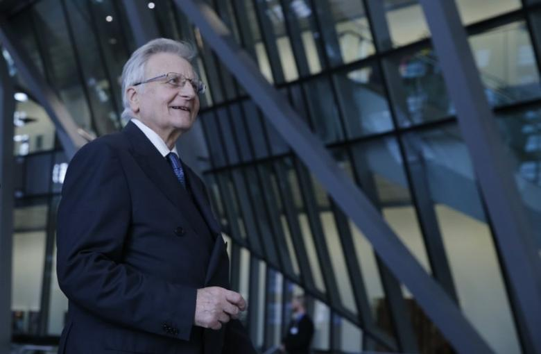 Jean-Claude Trichet, former European Central Bank (ECB) president arrives for the inauguration of the ECB's new headquarters in Frankfurt March 18, 2015. REUTERS/Wolfgang Rattay