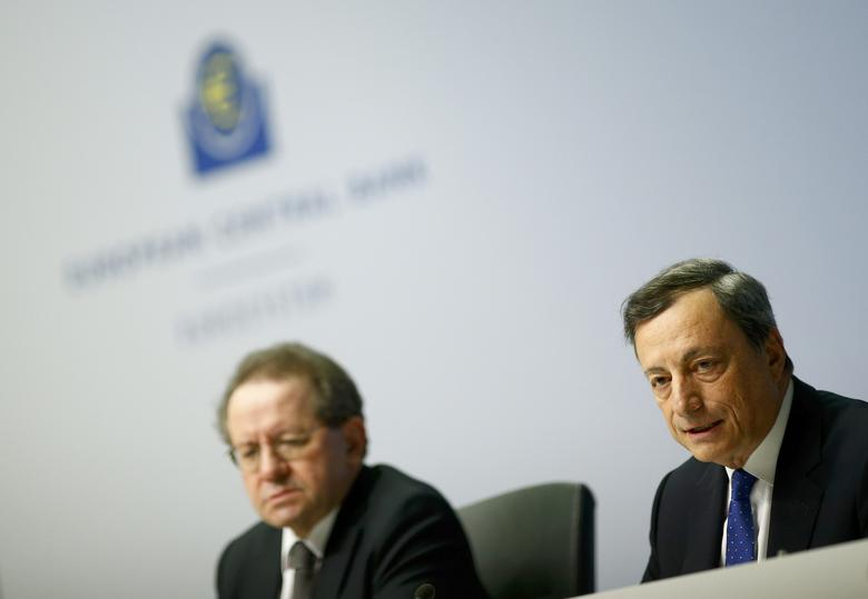 European Central Bank (ECB) President Mario Draghi (R) addresses a news conference next to ECB Vice President Vitor Constancio at the ECB headquarters in Frankfurt, Germany, December 8, 2016.  REUTERS/Ralph Orlowski