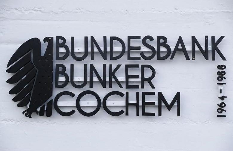 A sign reads ''Federal Reserve Bank (Bundesbank) bunker Cochem - 1964-1988'' prior to the bunker's official opening to the public in Cochem, Germany, March 18, 2016.   REUTERS/Kai Pfaffenbach