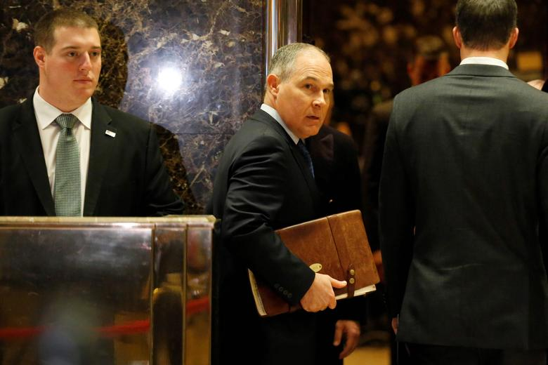 Scott Pruitt Attorney General of Oklahoma arrives to meet with U.S. President-elect Donald Trump at Trump Tower in Manhattan, New York City, U.S., December 7, 2016.  REUTERS/Brendan McDermid/File Photo