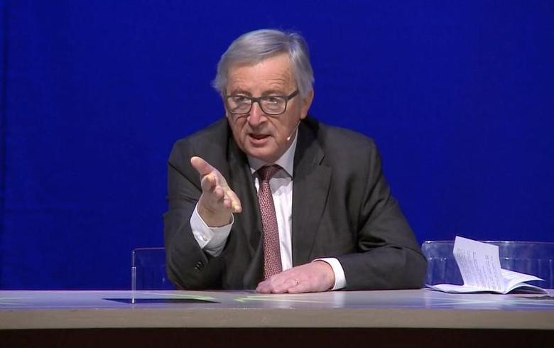 European Commission President Jean-Claude Juncker is seen in this screen grab addressing a conference on the twenty-five anniversary  the signing of the Maastricht Treaty, in Maastricht, Netherlands, December 9, 2016.  REUTERS/Reuters TV