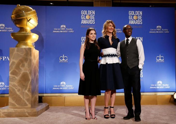 Actors Anna Kendrick, Laura Dern and Don Cheadle (L-R) pose after announcing nominations for the 74th Annual Golden Globe Awards in Beverly Hills, California, U.S. December 12, 2016. REUTERS/Mario Anzuoni