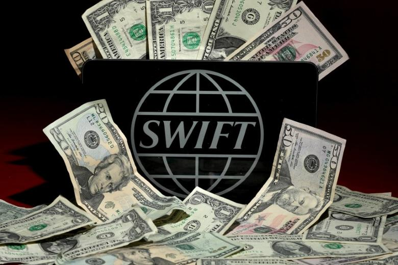 The SWIFT logo is pictured in this photo illustration taken April 26, 2016. To match Special Report CYBER-HEIST/FEDERAL    REUTERS/Carlo Allegri/Illustration/File Photo