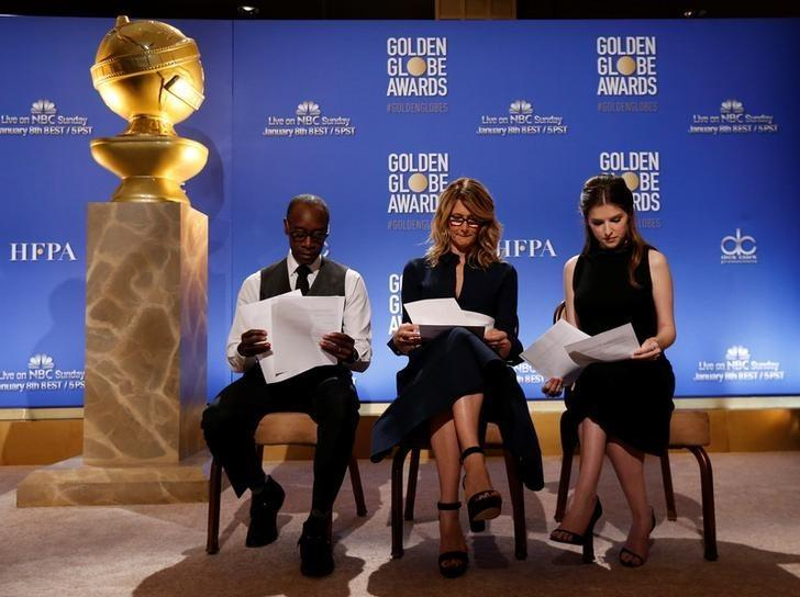 Actors Don Cheadle, Laura Dern, and Anna Kendrick (L-R) sit before announcing nominations for the 74th Annual Golden Globe Awards in Beverly Hills, California, U.S., December 12, 2016. REUTERS/Mario Anzuoni
