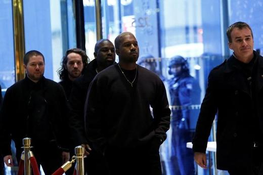 Musician Kanye West arrives for a meeting with U.S. President-elect Donald Trump at Trump Tower in Manhattan, New York City, U.S. Photo: Andrew Kelly / Reuters