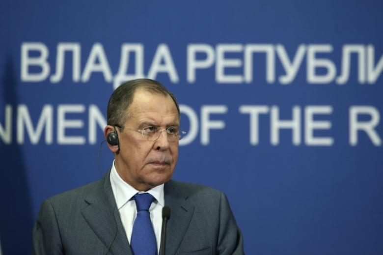 Russian Foreign Minister Sergei Lavrov pauses during a press conference with his Serbian counterpart Ivica Dacic (not pictured) in Belgrade, Serbia, December 12, 2016.  REUTERS/Djordje Kojadinovic