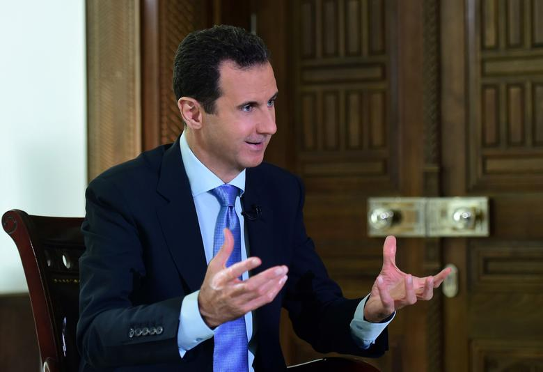 Syria's President Bashar al-Assad speaks during an interview with a Portuguese television channel in this handout picture provided by SANA on November 15, 2016. SANA/Handout via REUTERS