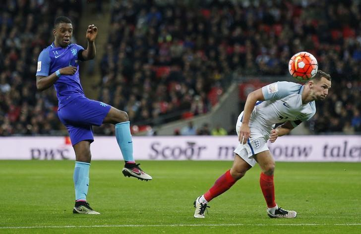 Football Soccer - England v Netherlands - International Friendly - Wembley Stadium, London, England - 29/3/16Netherlands' Riechedly Bazoer shoots past England's Danny DrinkwaterAction Images via Reuters / Andrew CouldridgeLivepic/File Photo
