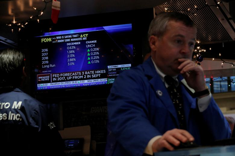 Traders work on the floor of the New York Stock Exchange (NYSE) shortly after the announcement that the U.S. Federal Reserve will hike interest rates in New York, U.S., December 14, 2016.  REUTERS/Lucas Jackson
