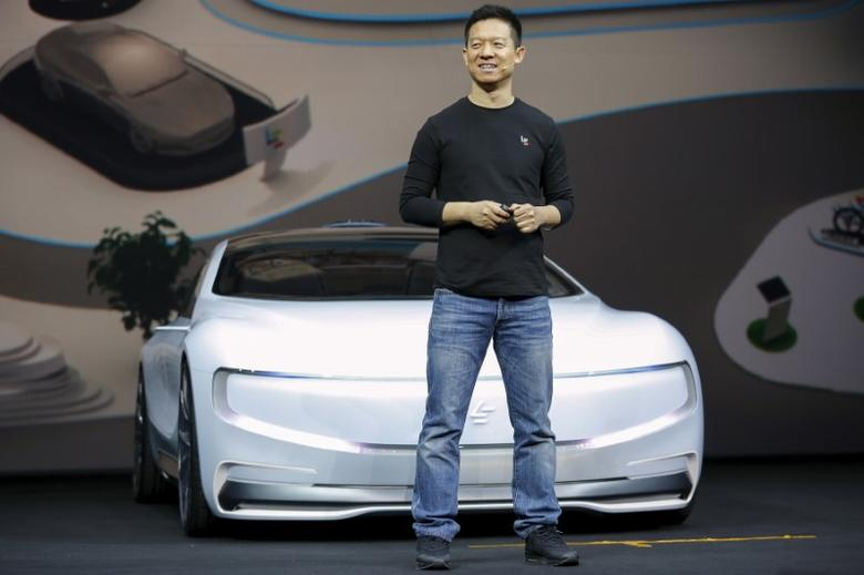 Jia Yueting, co-founder and head of Le Holdings Co Ltd, also known as LeEco and formerly as LeTV, unveils an all-electric battery ''concept'' car called LeSEE during a ceremony in Beijing, China April 20, 2016. REUTERS/Damir Sagolj