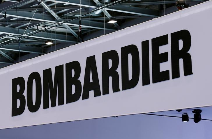 A Bombardier logo is pictured on the company booth during the European Business Aviation Convention & Exhibition (EBACE) at Cointrin airport in Geneva, Switzerland, May 24, 2016.  REUTERS/Denis Balibouse/Files