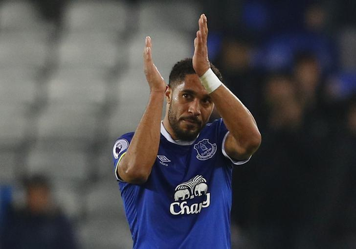 Britain Football Soccer - Everton v Arsenal - Premier League - Goodison Park - 13/12/16 Everton's Ashley Williams applauds fans after the game  Reuters / Phil Noble Livepic