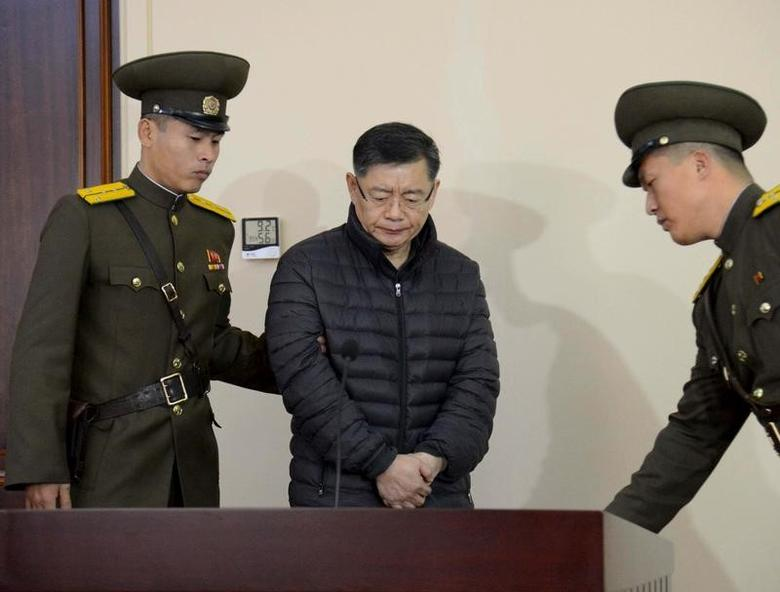 South Korea-born Canadian pastor Hyeon Soo Lim stands during his trial at a North Korean court in this undated photo released by North Korea's Korean Central News Agency (KCNA) in Pyongyang December 16, 2015.  REUTERS/KCNA