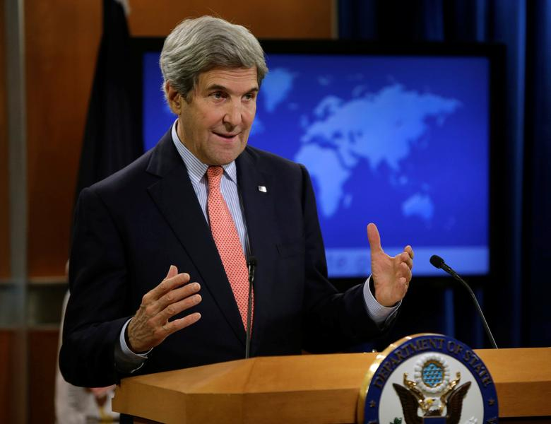 United States Secretary of State John Kerry delivers a statement on the situation in Aleppo, Syria at the State Department in Washington U.S., December 15, 2016.    REUTERS/Gary Cameron
