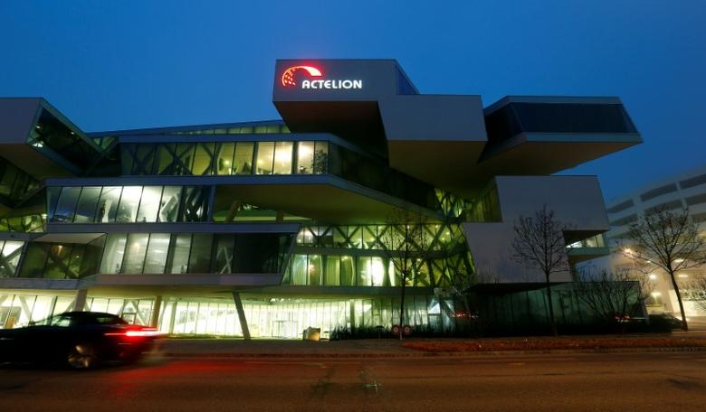 A long-time exposure shows the headquarters of Swiss biotech company Actelion in Allschwil, Switzerland December 6, 2016.    Reuters / Arnd Wiegmann