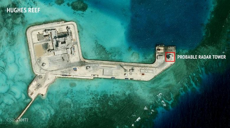 A satellite image released by the Asian Maritime Transparency Initiative at Washington's Center for Strategic and International Studies shows construction of possible radar tower facilities in the Spratly Islands. Photo taken February 2016. CSIS Asia Maritime Transparency Initiative/DigitalGlobe