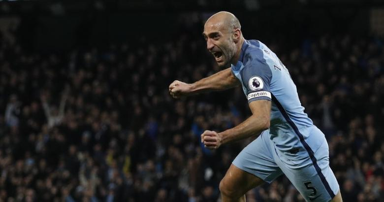 Britain Football Soccer - Manchester City v Watford - Premier League - Etihad Stadium - 14/12/16 Manchester City's Pablo Zabaleta celebrates scoring their first goal  Reuters / Phil Noble Livepic