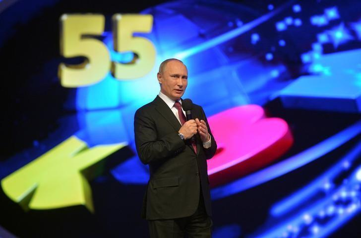 Vladimir Putin makes a 2016 guest appearance in Club of the Cheerful and Sharp-Witted, a comedy show that has been on Russian national television since 1961. Sputnik/Kremlin/Alexei Druzhinin via REUTERS .