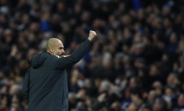 Britain Football Soccer - Manchester City v Watford - Premier League - Etihad Stadium - 14/12/16 Manchester City manager Pep Guardiola celebrates after Pablo Zabaleta (not pictured) scores their first goal  Action Images via Reuters / Jason Cairnduff Livepic