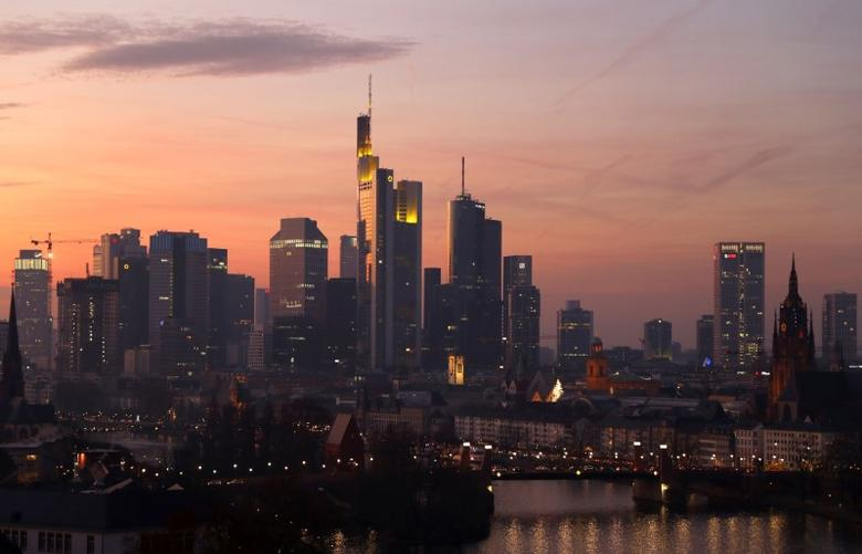 The skyline is seen as the sun goes down late in the afternoon in Frankfurt, Germany December 10, 2016. Picture taken December 10, 2016. REUTERS/Kai Pfaffenbach