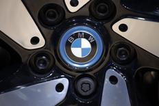 The BMW logo is seen on the wheel of a vehicle presented at the Auto China 2016 auto show in Beijing, China, April 29, 2016.  REUTERS/Damir Sagolj - RTSF8U6