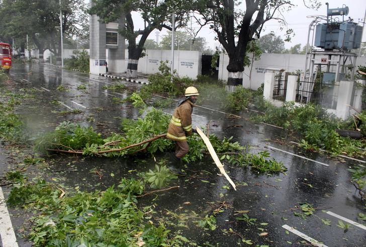 A rescue member removes a fallen branch of a tree that fell on a road after it was uprooted by strong winds in Chennai, India, December 12, 2016.  REUTERS/Stringer/ Files