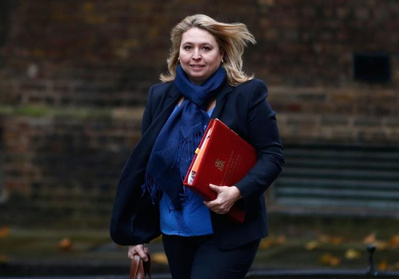 Britain's Secretary of State for Culture, Media and Sport Karen Bradley arrives in Downing Street for a cabinet meeting, in London, November 15, 2016. REUTERS/Peter Nicholls