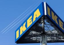 The IKEA logo is seen outside IKEA Concept Center, a furniture store and headquarters of the IKEA brand owner Inter IKEA, in Delft, the Netherlands March 16, 2016.   REUTERS/Yves Herman/File Photo