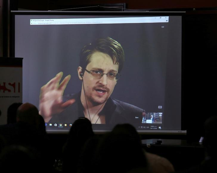 Edward Snowden speaks via video link during a conference at University of Buenos Aires Law School, Argentina, November 14, 2016. REUTERS/Marcos Brindicci/Files